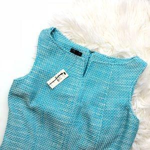Talbots Petite Turquoise Tweed Shift Dress Size 4P
